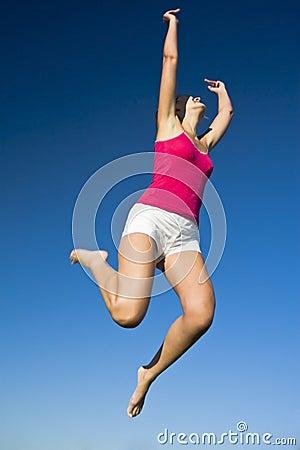 Beautiful girl jumps