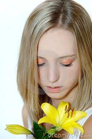 Beautiful girl with lily