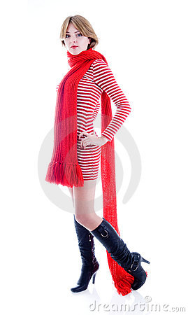 Beautiful Girl With Long Red Scarf Stock Photos - Image: 6733993