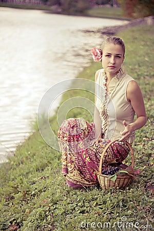 Beautiful girl in a long skirt
