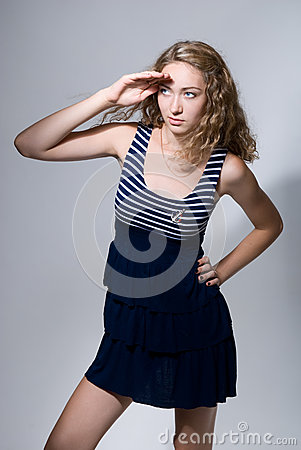 Beautiful Girl Looks Afar With Put Hand Royalty Free Stock Image - Image: 25659856
