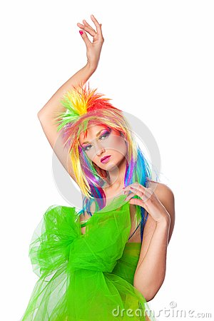 Beautiful girl with multicolored wig