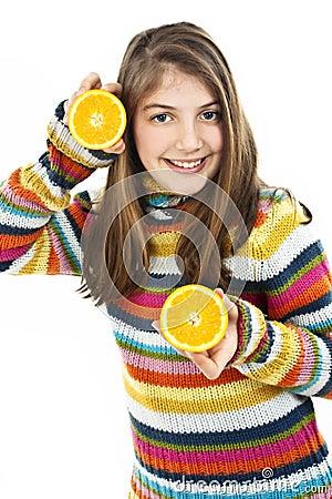 Beautiful girl with orange