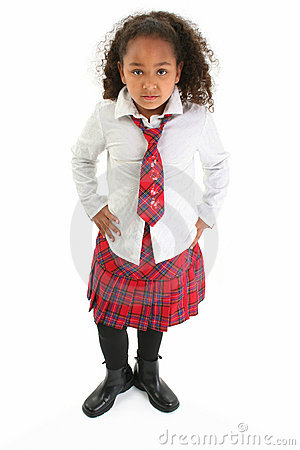 Beautiful Girl in Plaid Uniform