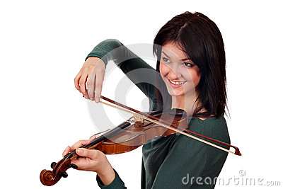 Beautiful girl play violin portrait