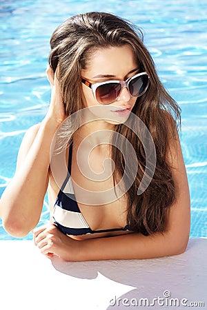 Beautiful girl in pool