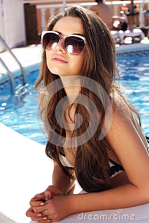 Beautiful girl in pool