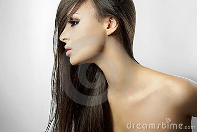 Beautiful girl in profile with long hair