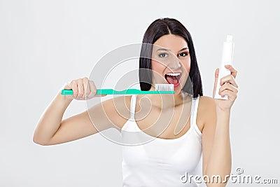 Beautiful girl ready for brushing