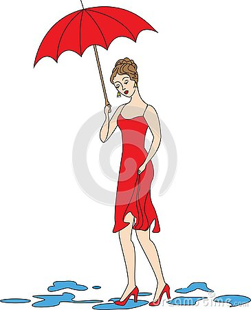 Beautiful girl in a red dress. The girl walks in the rain. A woman is covered by an umbrella. Vector illustration Cartoon Illustration