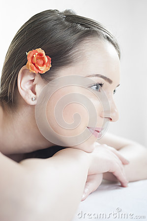 Beautiful girl resting at massage