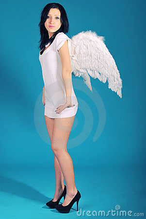 It is a beautiful girl in a role of angel on a blu