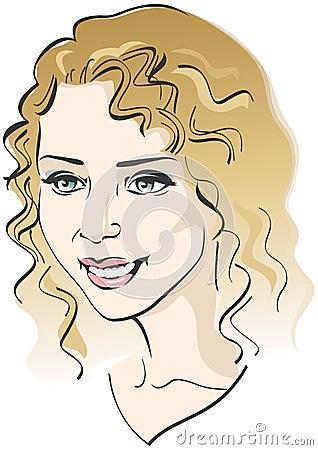 Beautiful girl s face. Vector illustration