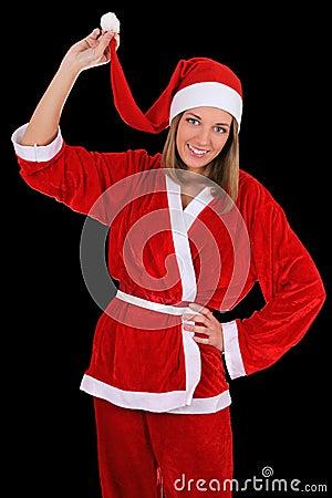 Beautiful girl in santa clause costume