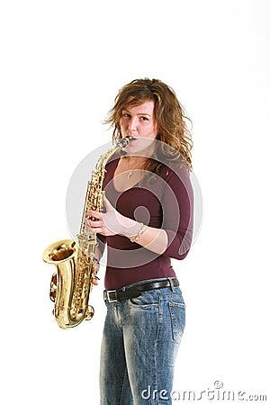 Beautiful girl with sax