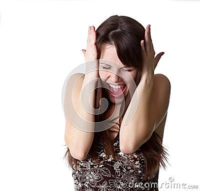 Beautiful girl is screaming