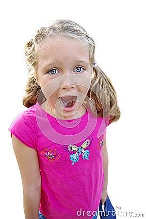 Beautiful girl screaming expression