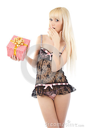 Beautiful girl in sexy lingerie with gift box