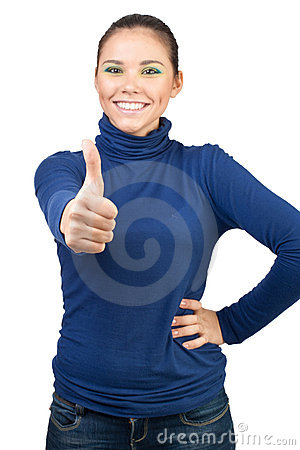 Beautiful girl showing thumbs up