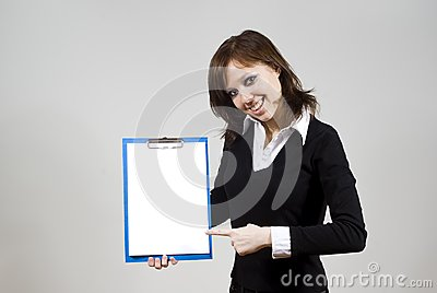 Beautiful girl smiling indicates the document