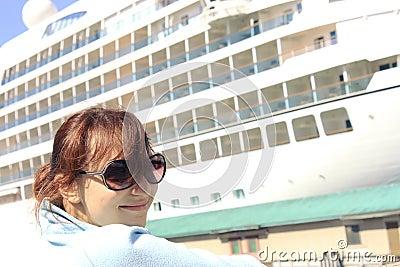 stock photo girl cruise ship