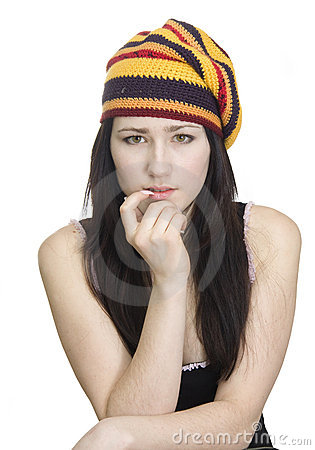 Beautiful girl in striped beret