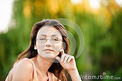 Beautiful girl-student on nature