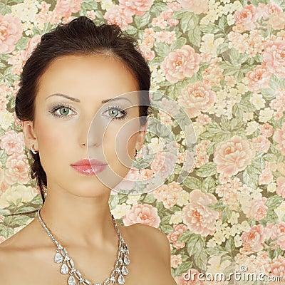 Beautiful girl with summer makeup
