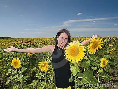 Beautiful girl in the Sunflower