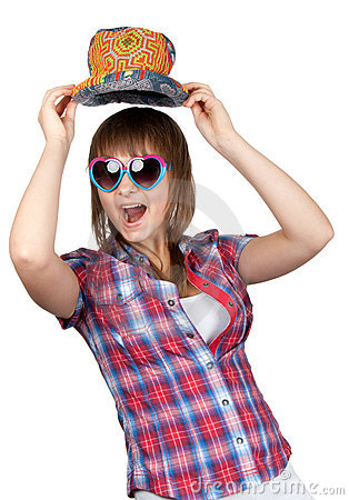 Beautiful girl in sunglasseses and colour hat
