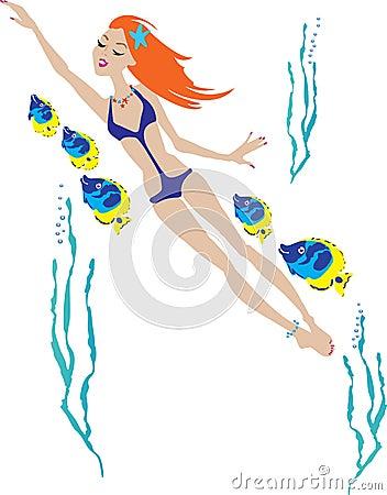 Beautiful girl swimming