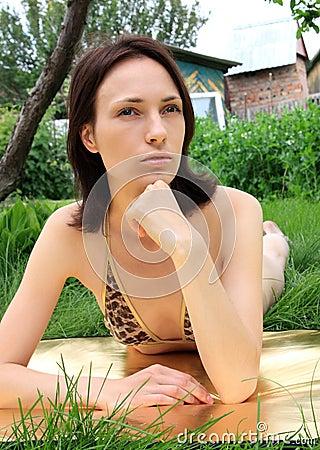 Beautiful girl tanning