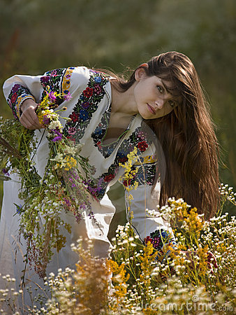 Beautiful girl in Ukrainian costume