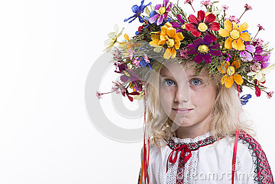 Beautiful girl in Ukrainian ethnic clothing