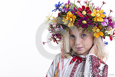 Beautiful girl in Ukrainian ethnic clothing