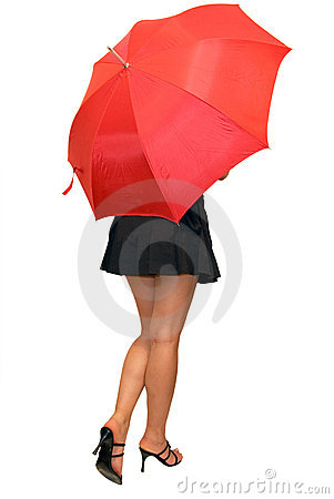 Beautiful girl under the red umbrella