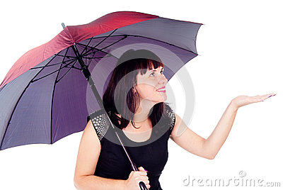 Beautiful girl under the umbrella of checks rain