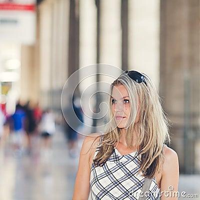 Beautiful Girl Is Waiting at the Railway Terminal