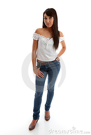 Beautiful girl wearing skinny jeans and top