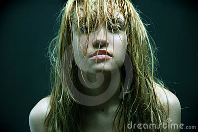 Beautiful girl with wet hairs.