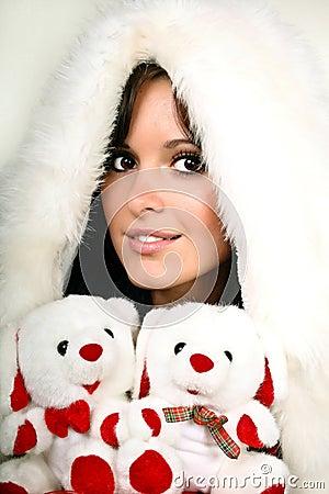 Beautiful girl in white fur