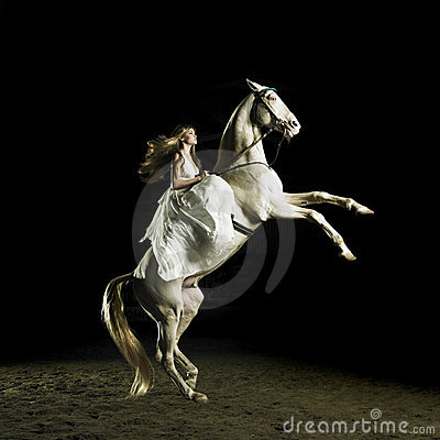 Beautiful girl on a white horse