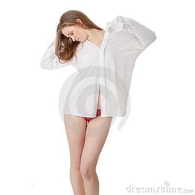 The Beautiful Girl In A White Men Shirt Stock Image