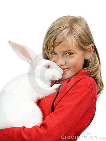 The beautiful girl with a white rabbit