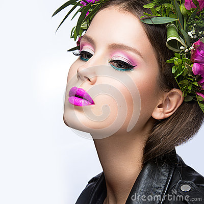 Free Beautiful Girl With A Lot Of Flowers In Their Hair And Bright Pink Make-up. Spring Image. Beauty Face. Stock Images - 51821954