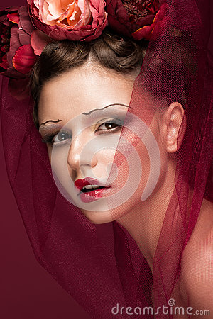 Free Beautiful Girl With Art Creative Make-up In Image Of Red Bride For Halloween. Beauty Face. Royalty Free Stock Images - 96674109