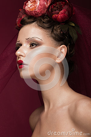 Free Beautiful Girl With Art Creative Make-up In Image Of Red Bride For Halloween. Beauty Face. Royalty Free Stock Images - 96674159