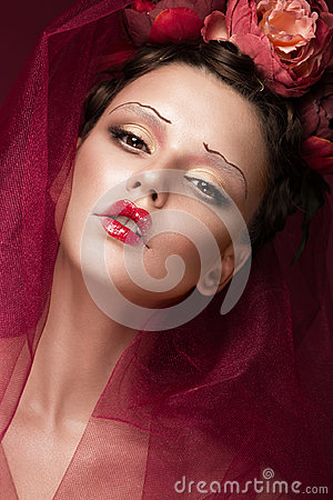 Free Beautiful Girl With Art Creative Make-up In Image Of Red Bride For Halloween. Beauty Face. Stock Image - 96674161