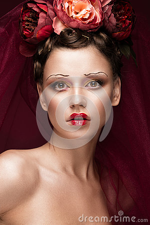 Free Beautiful Girl With Art Creative Make-up In Image Of Red Bride For Halloween. Beauty Face. Stock Image - 96674471