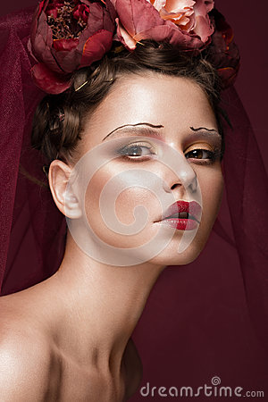 Free Beautiful Girl With Art Creative Make-up In Image Of Red Bride For Halloween. Beauty Face. Royalty Free Stock Photography - 96674937